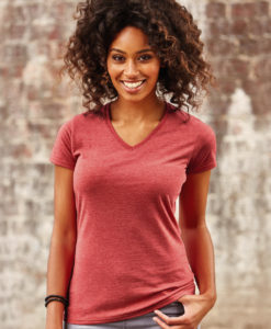 T-Shirt Femme col V chiné